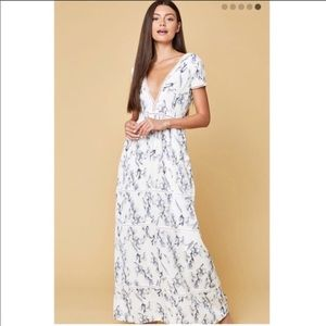Lucca Lace V Neck Floral Maxi Dress